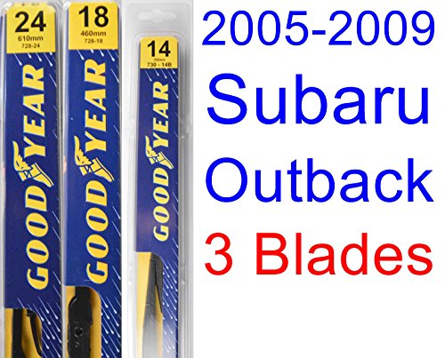 2005-2009 Subaru Outback Wagon Replacement Wiper Blade Set/Kit (Set of 3 Blades) (Goodyear Wiper Blades-Premium) (Outback Wagon)