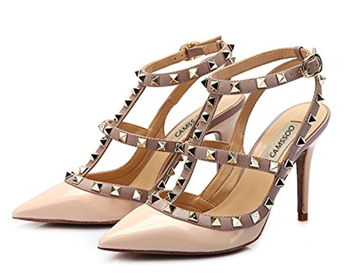 Studs Strappy Gold High Beige Pumps Women's Shoes Heels Classic T Sandals Trim CAMSSOO Stiletto Studded Rivets Strap Nude Patent xwUgZBT
