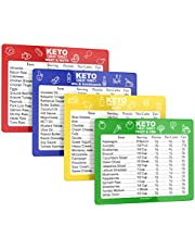 Keto Diet Cheat Sheet Quick Guide Fridge Magnet Reference Charts for Ketogenic Diet Foods - Including Meat & Nuts, Fruit & Veg, Dairy, Oils & Condiments By SunnyKeto