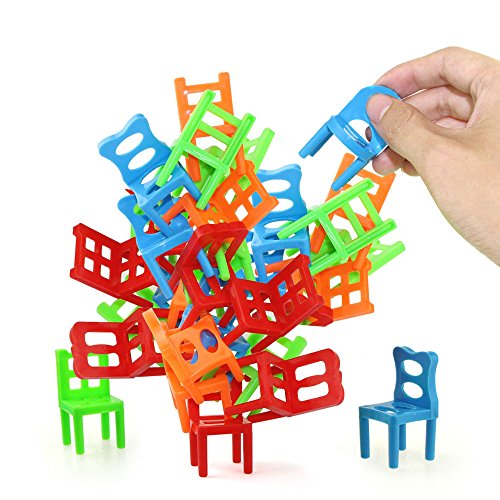 Jenilily Chairs Stacking Tower Balancing Game - Party Favor Stacking Toys - Pile-Up Suspend Family Board Games for Kids (18 Chair Toys - Stacking Chair Game