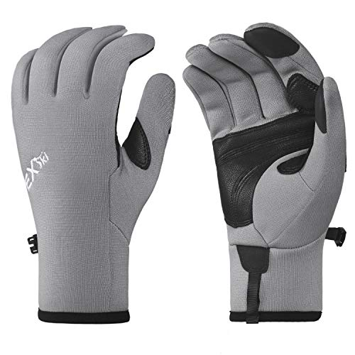 EXski Mens Hiking Gloves Sensitive Touchscreen Genuine Leather Palm Thin Fleece Lined Gloves for Running Driving Riding Outdoor Sports Grey X-Large