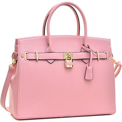 dasein-top-handle-faux-leather-padlock-structured-briefcase-satchel-handbag-tablet-ipad-bag-f2731-pi
