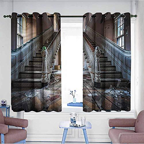 SAMEK Sliding Door Curtains,Rustic Abandoned Opera House,Hipster Patterned,W55x39L