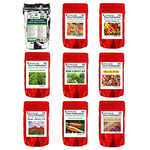 Pure Pollination 9 Package, 100 Packets, 91 Different Strains Vegetable, Flower, Herb Seed Packs