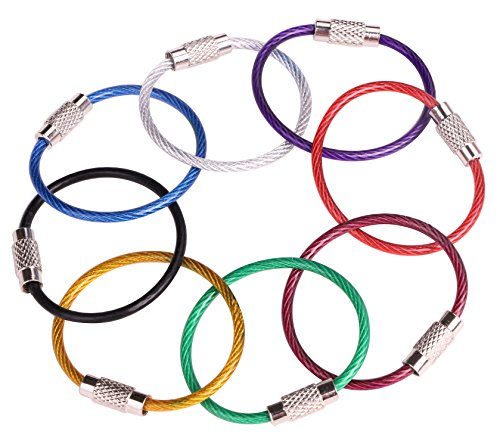 (Mini Skater 8PCS 4 Inches Assorted Colored Durable Stainless Steel Wire Keychain Key Ring Cable Ring (8 Assorted Color,Thickness 2mm))