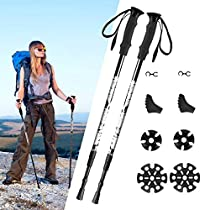 TrekkingPoles,[2 Pack]-TOPELEK Collapsible Hiking or Walking Sticks for Man Woman - Strong,Antishock,Lightweight Aluminum 7075 Trekking Poles,Quick Locks,EVA Grip,Adjustable Hiking Poles with All Terrain Accessories and Carry Bag