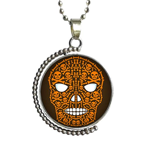 Halloween skeletons clip art Glass Cabochon Rotatable Lucky Pendant Necklace (Clipart Halloween Skeleton)