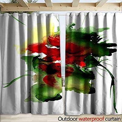 Panel de Cortina con Ojales de Acuarela, Marco Floral exótico ...