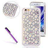 [Sliver Liquid] iPhone 5/5S Case, EMAXELER 3D Creative Design Flowing Liquid Floating Bling Shiny Liquid Quicksand Polycarbonate Hard Case for iPhone 5/5S + Stylus Pen--Yellow Small Flower
