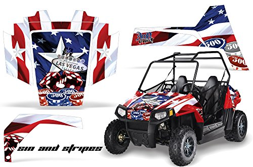 AMRRACING Polaris RZR 170 Youth All Years Full Custom UTV Graphics Decal Kit - Stars and Stripes (170 Polaris Graphic Kits)