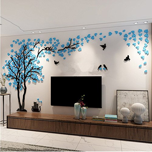 3D Huge Couple Tree DIY Wall Stickers Crystal Acrylic Wall Decals Wall Murals Nursery Living Room Bedroom TV Background Home Decorations Arts (Blue-Left, XL)