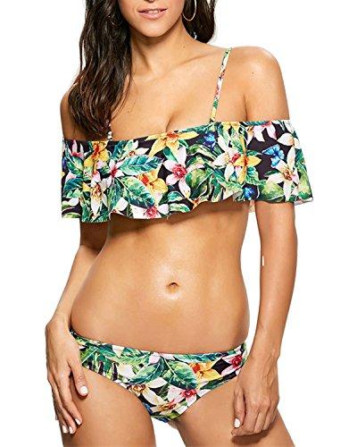 Bikini Damen Set Push up Sexy Gepolstert Yigoo Sport Badeanzug Rüsche Off  Shoulder Zweiteilige Badeanzüge Blumendruck ebf38d3b06