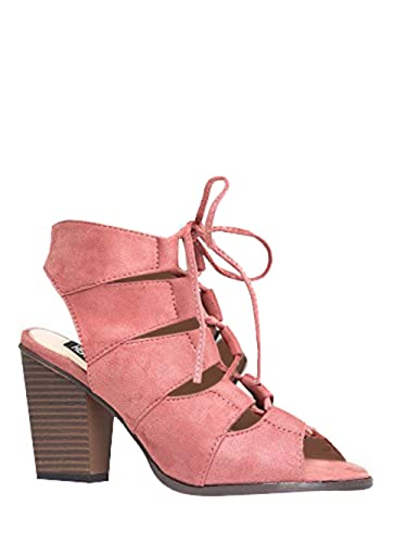 1d5675f303447 Gladiator Lace up High Heel - Chunky Wood Block Bootie - Shoes Mauve