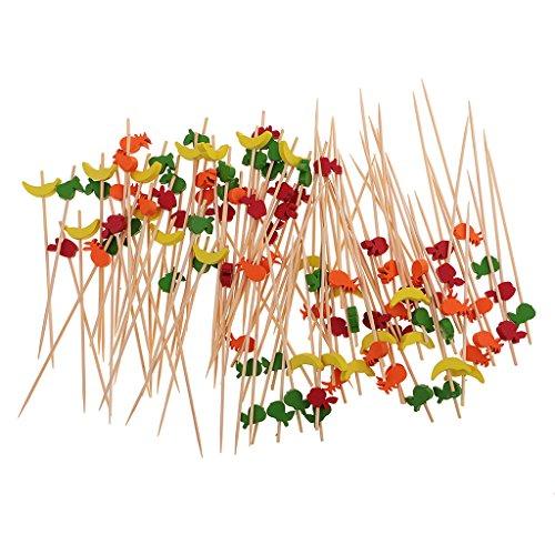 Jili Online Pieces of 100 Fruit Bamboo Cocktail Picks Food Sticks Drink Stirrer BBQ Kebab (Halloween Fruit Kabobs)