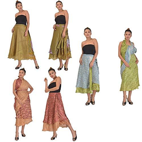 (SalsaNights Combo of 3 100% Pure Silk Sari Magic Wrap Skirts Reversible Printed Dress 2 Layered, Medium)