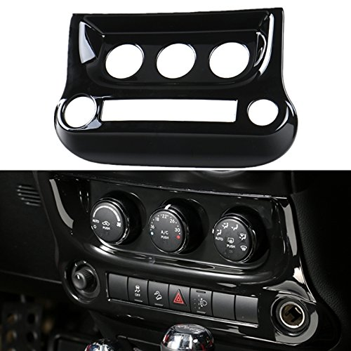 Highitem 1Pcs 4Colors Air Conditioner Switch Interior Central Dashboard Console Cover Face Trim for Jeep Wrangler JK 2/4Door 2011-2017 (Black)