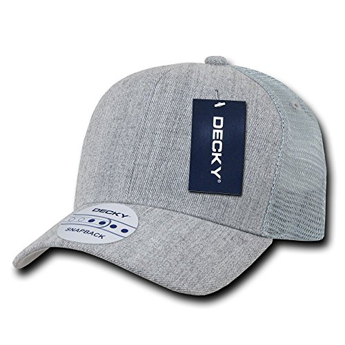 DECKY 6 Panel Curve Bill Trucker Cap, Heather Grey