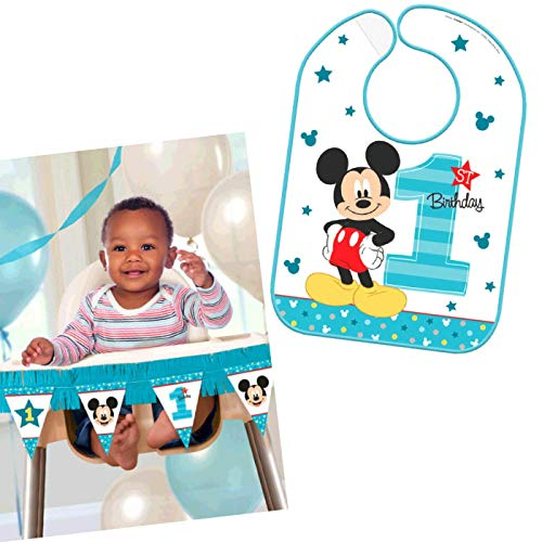 Mickeys First Birthday Party Supplies Bundle Pack for 16 Guests (High Chair Bundle) -