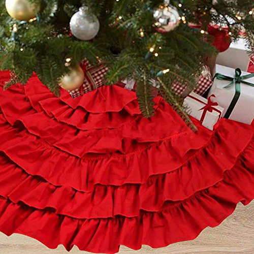 NIGHT-GRING 50 Inch Red Burlap Ruffled Xmas Christmas Tree Skirt Christmas Decorations (Christmas Burlap Tree Red Skirt)