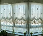 Pastoral Adjustable Balloon Curtain Combined Hand Crochet Greece Style Off-White