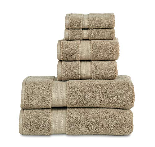 800 GSM 6 Piece Towels Set, 100% Cotton, Premium Hotel & Spa Quality, Highly Absorbent, 2 Bath Towels 27″ x 54″, 2 Hand Towel 16″ x 28″ and 2 Wash Cloth 12″ x 12″. Taupe Color