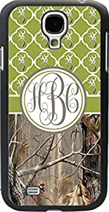 Country Girl Olive Buck Head Camo Quatrefoil Monogram CASE COVER FOR SAMSUNG GALAXY S4