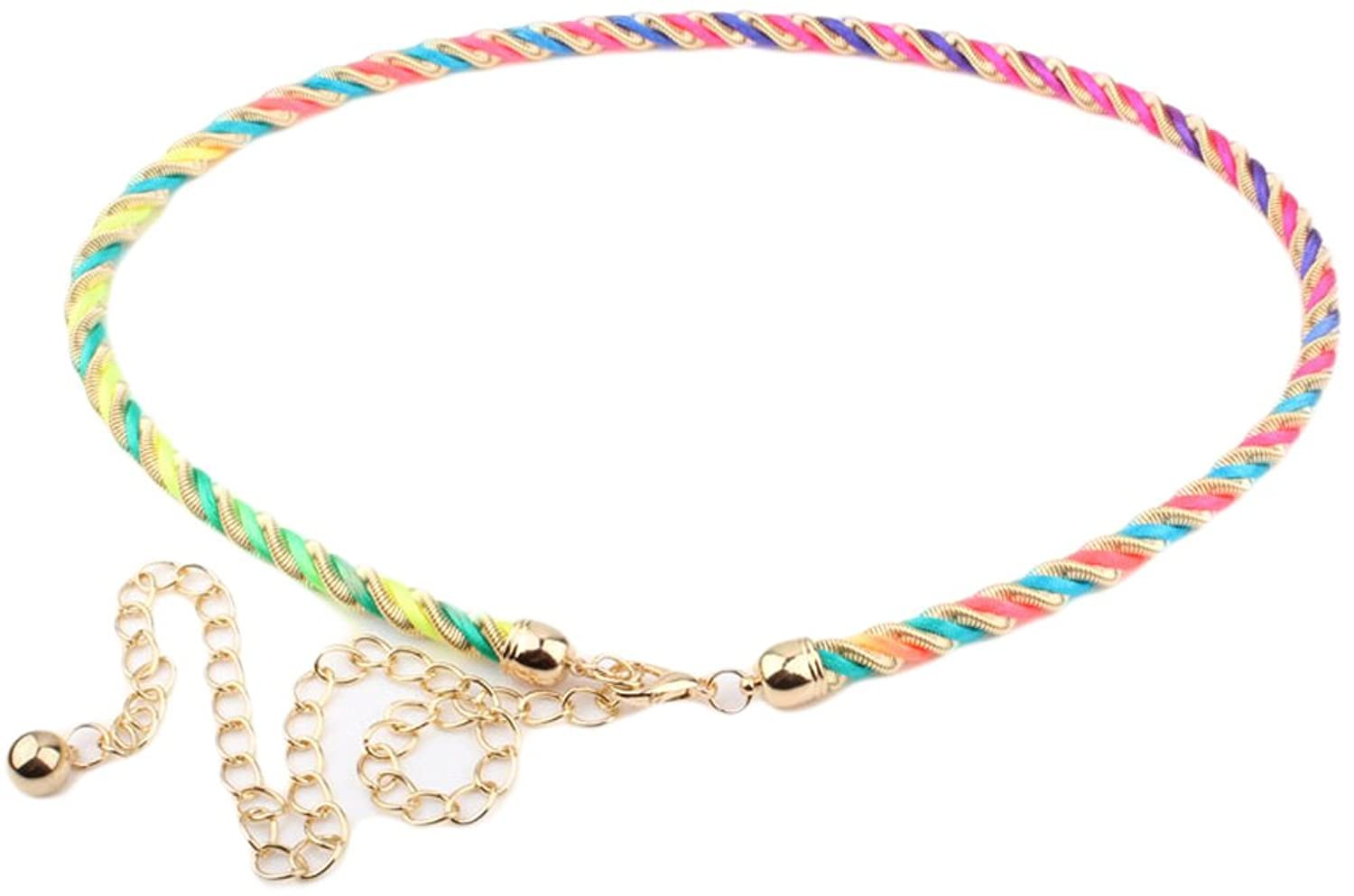Womens Multi-color Metal Adjustable Waist Chain Belt Twisted Wire Style