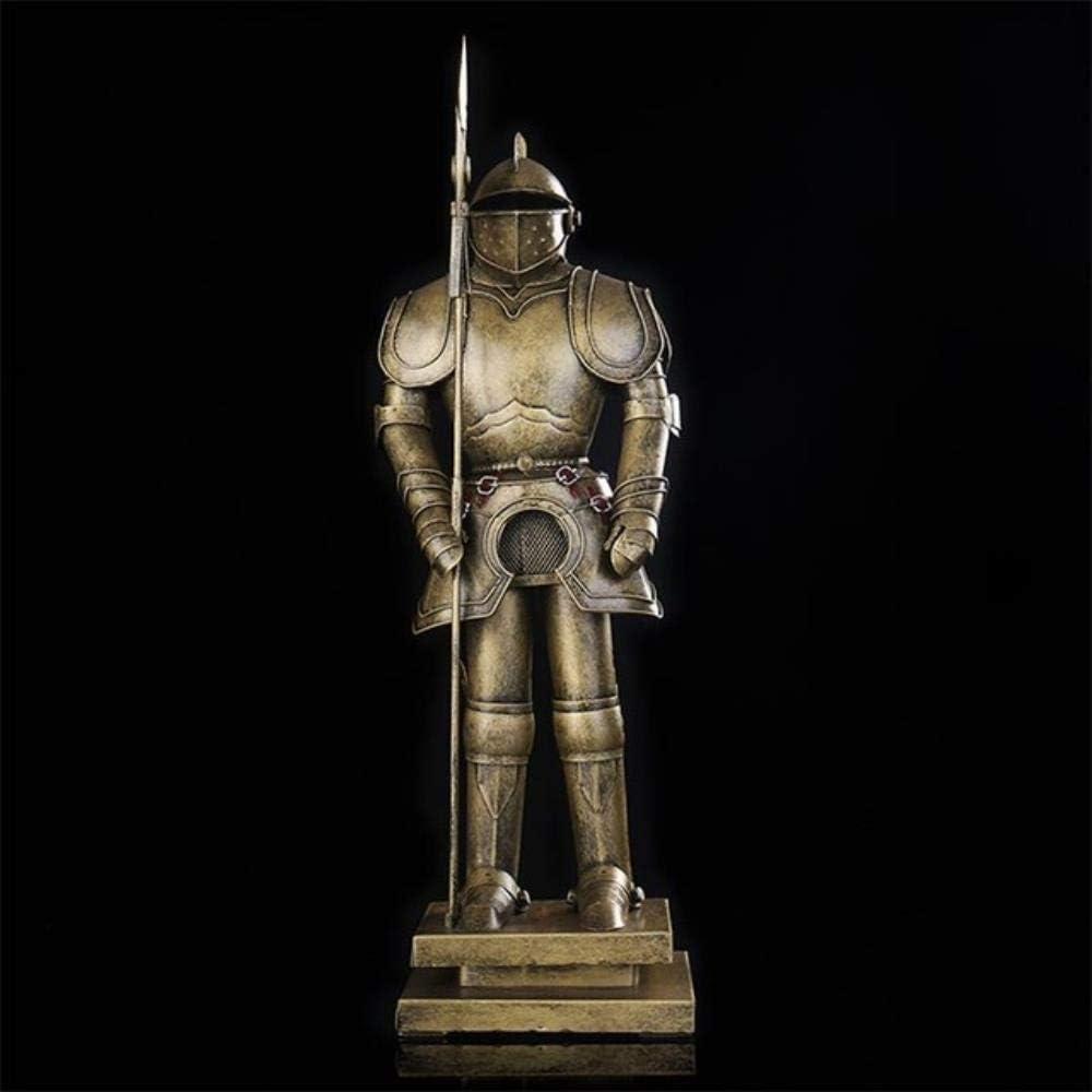 PA Adornos Estatuas Decoraciones Estatuilla Escultura Edad Media Hierro Aarmour Soldado Estatua Antiguo Metal Escala Lanza Cavalier Modelo Adornos Ornamcraft Accesorios, Cobre, M,Cobre