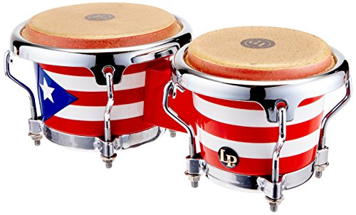 LPM199-PR LPMC Mini Tunable Puerto Rican Flag Wood Bongos