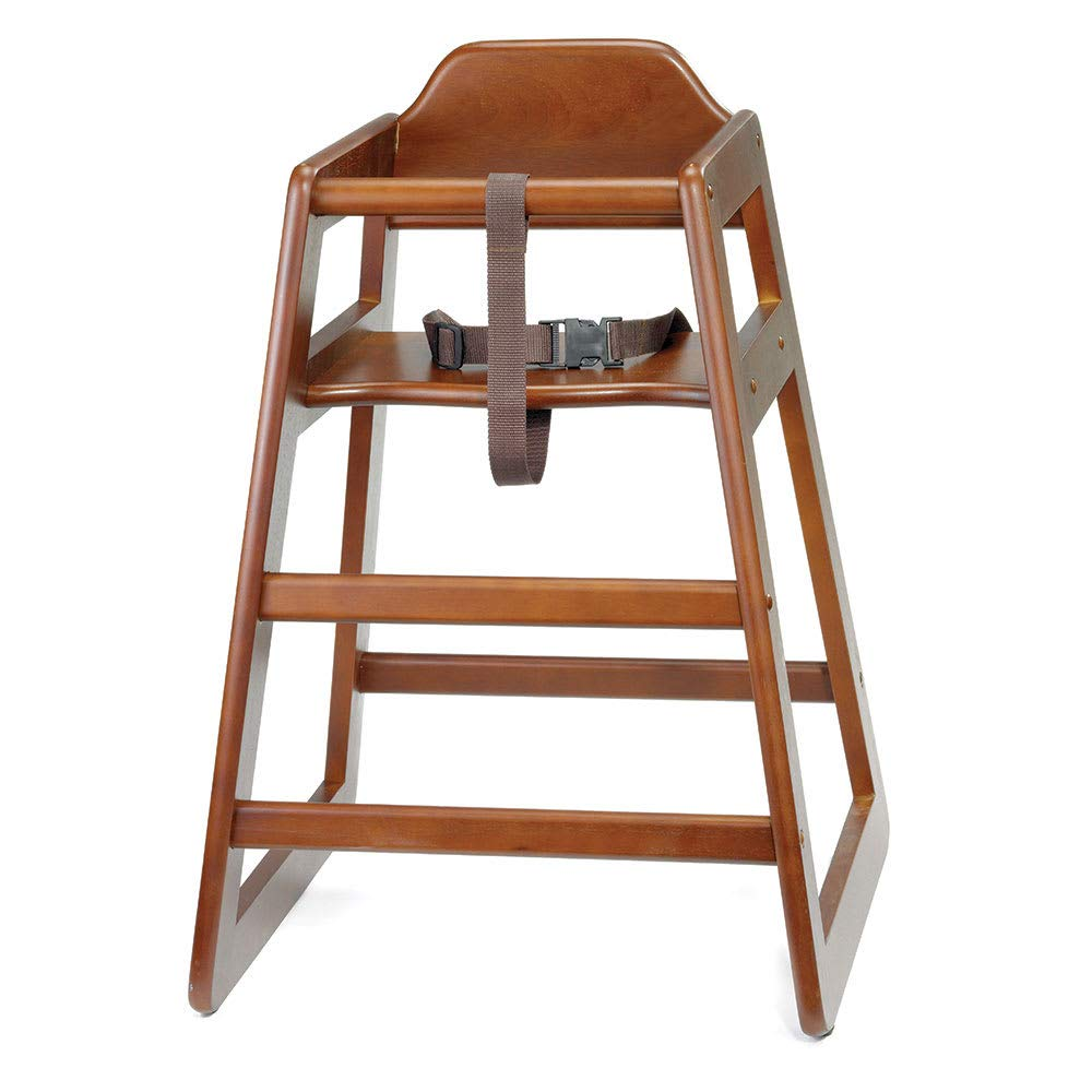 Tablecraft 66A 29'' Stackable High Chair w/Waist Strap - Wood, Walnut