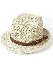 SUN-BING-MZ, Unisex upprullningsbrätte solhatt för kvinnor män halm strand solhatt elegant dam Fedora resor panama solhatt storlek 56–58 cm