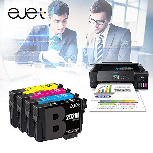 E-jet Remanufactured for Epson 252 252XL Ink Cartridge Combo Pack use with Epson WorkForce WF-3640 WF-3630 WF-3620 WF-7610 WF-7620 WF-7110 Printer (4 Pack)