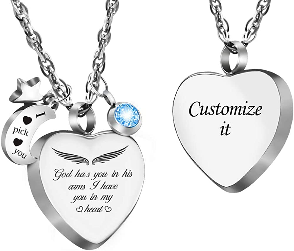 Dletay Cremation Urn Necklace with 12 Birthstones Heart Memorial Keepsakes Pendant Ashes Jewelry
