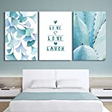 3 Panel Ginkgo Leaves and Tropical Plant with Live Love Laugh Quotes Gallery 16 x24 x 3 Panels