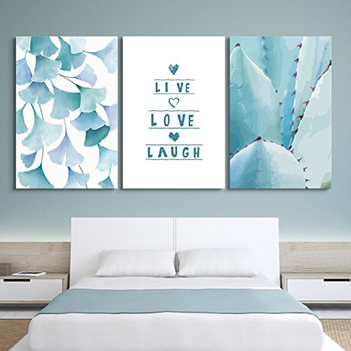 3 Panel Ginkgo Leaves and Tropical Plant with Live Love Laugh Quotes x 3 Panels