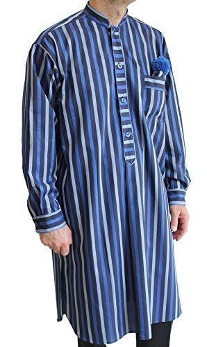 Con Da Camicia 100 Blu Guru Cotone Notte 2 blu royal N1 avio Uomo Collo Papalina Villa Delmitia vWg4nn8
