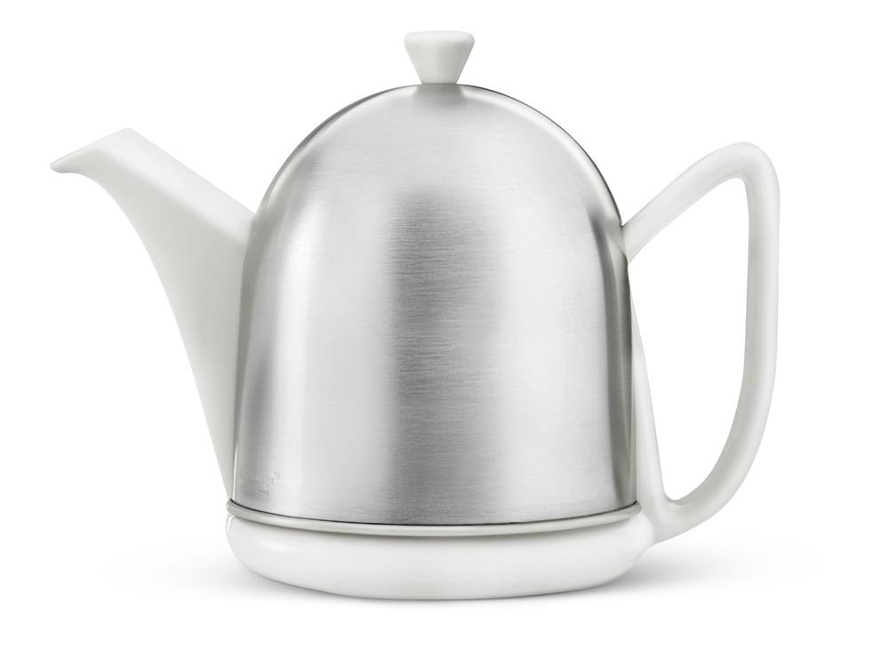 bredemeijer 3510W Cosy Manto Teapot, 1.0-Liter, Ceramic Spring White with Insulated Shell