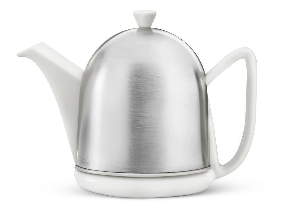 Steingut-Teekanne Cosy® Manto weiß mit filzisoliertem Edelstahlmantel matt gebürstet 1,0 ltr. Bredemeijer 3510W