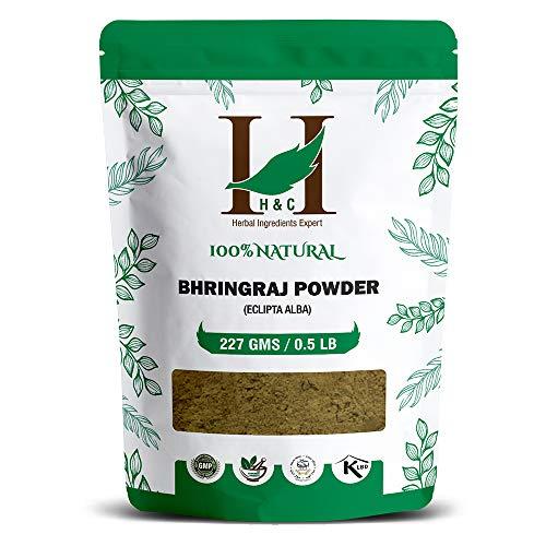 H&C Herbal Ingredients Expert 100% Natural Bhringraj (Eclipta Alba) Powder – 227g / 0.5 LB / 08 oz – For Hair Care…