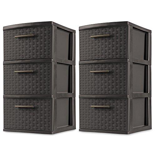 (Sterilite 3 Drawer Wicker Weave Decorative Storage Tower, Espresso (2)