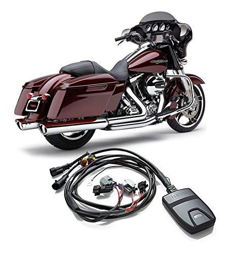 Cobra Power Port Exhaust Header & Scalloped Tip Slip-On Mufflers + Fi2000 PowrPro Black - HD FL Tour Models - 2014-2016