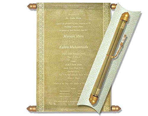 Scroll Invitations, Scroll Wedding Invitations, Wedding Scrolls (10 pcs) (Gold) ()