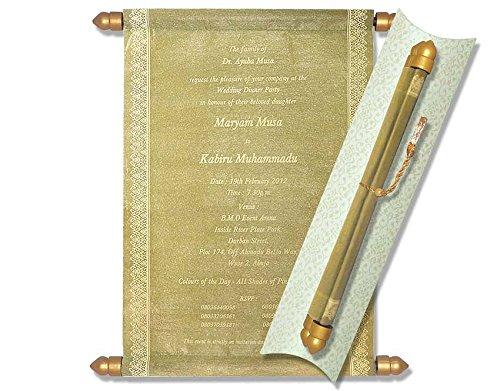 Scroll Invitations, Scroll Wedding Invitations, Wedding Scrolls (10 pcs) (Gold)
