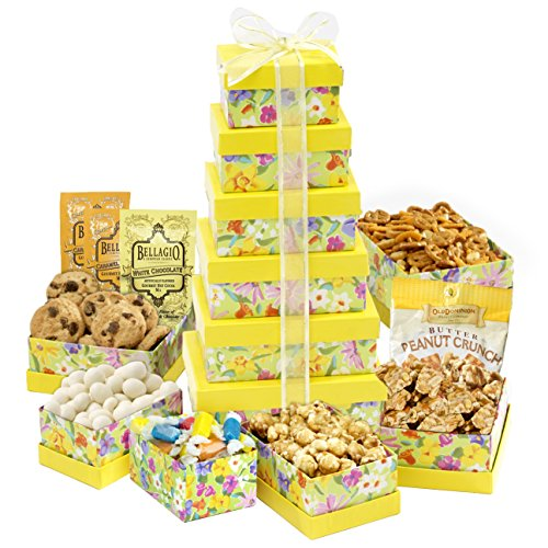 Broadway Basketeers Fresh and Floral Assorted Sweets Easter Gift Tower