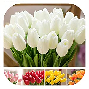 mamamoo 1 Pcs Fake Red Tulips Silk Tulip Artificial Flowers Tulips for Home Decoration Lot Artificial Flowers for Wedding Tulip Bouquets 67