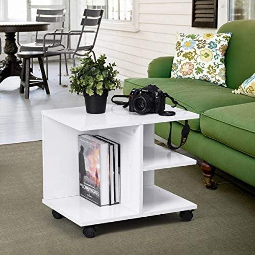 Homy Casa – Mueble multifuncional, mueble de televisión, mesa de café, mesilla de noche, estantería, mueble de almacenaje, ruedas giratorias con freno, color blanco: Amazon.es: Juguetes y juegos