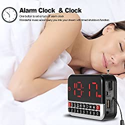 GES NET 2017 FM Pocket Radio, Portable Alarm Clock Radio with Time, Alarm, Radio, Digital Display,Stereo Mode and Micro SD/TF USB Disk Speaker MP3 Music Player (Silver)