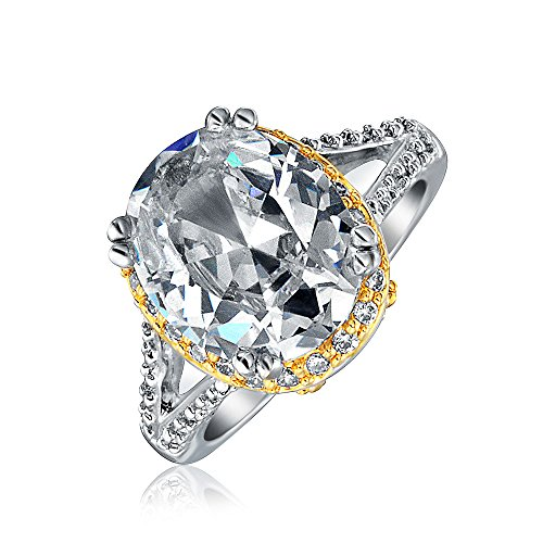 Bling Jewelry 5ct Oval Shaped CZ Two Tone Vintage Style Engagement Ring Rhodium Plated (Radiant Two Tone Ring)