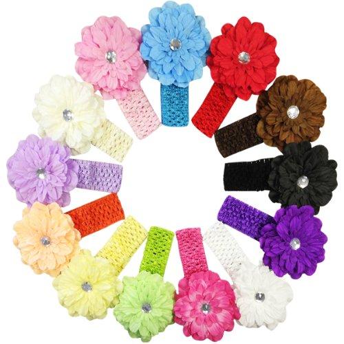 Kella Milla Set of 13 Assorted Peony Flower Soft Stretchy Crochet Baby Headbands
