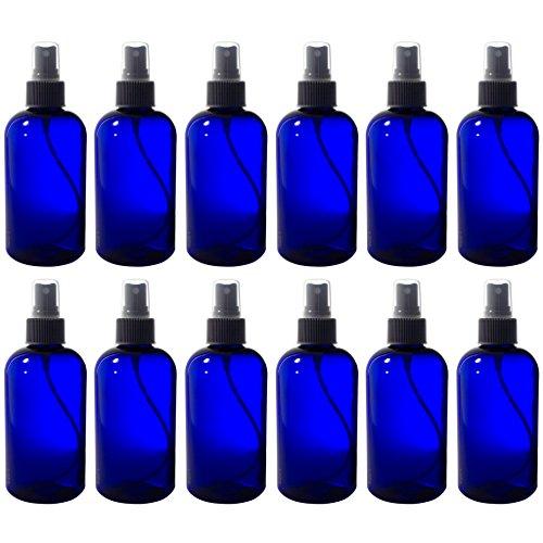 Cobalt Blue 8 oz Boston Round PET Bottles (BPA Free) with Black Fine Mist Spray (12 pack) + - Round Boston Bottles Pet Plastic